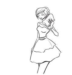 Elegant lady in short evening dress vector image