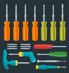 Flat various screwdrivers set vector