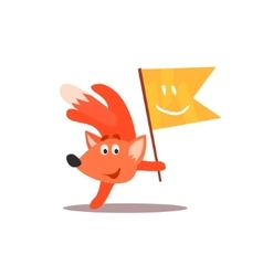 Fox Holding Flag With Smiley Face vector image