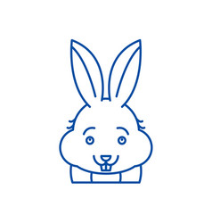 funny rabbit line icon concept funny rabbit flat vector image