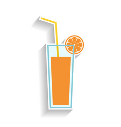 Glass of orange juice with drinking straw flat vector