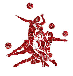 Group volleyball players action cartoon graphic vector