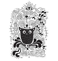 Halloween owl hand lettering banner vector