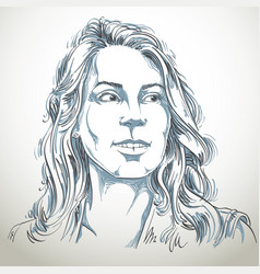 hand-drawn portrait of white-skin woman face vector image