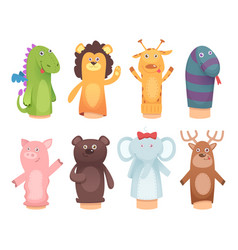 Hands puppets toys from socks for kids funny vector