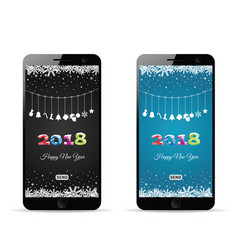 happy new 2018 year on mobile phone vector image