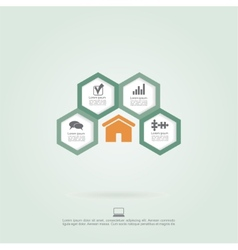 Infographic honeycomb elements with icons vector