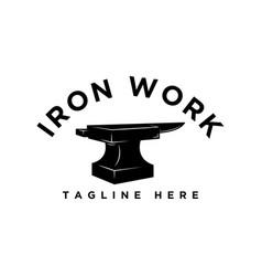 Iron work logo design idea vector
