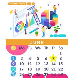 isometric calendar of 2019 business analysis vector image
