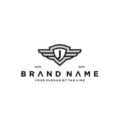 Letter j shield wing logo design concept vector