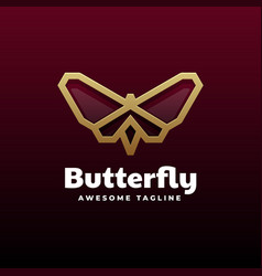 logo butterfly gradient line art style vector image
