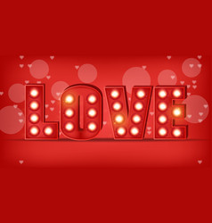 love text in lights realistic special vector image