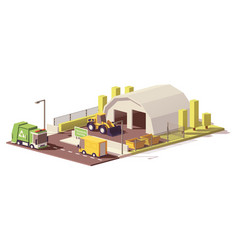 Low poly waste transfer station vector