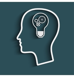 mans head with a light bulb vector image