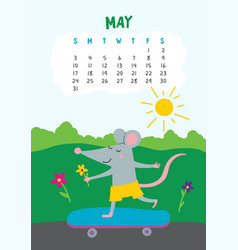 may calendar page with cute rat in travel vector image