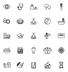 Meditation line icons on white background vector