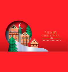 merry christmas papercut winter town banner vector image