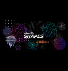 Modern trendy shapes with glitch effect 3d vector