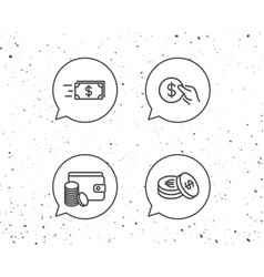 money transfer cash and wallet icons hold coin vector image
