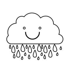 Monochrome contour of smiling cloud with rain vector