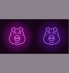 neon piglet face in purple and violet color vector image