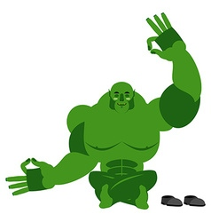 Ogre meditating Goblin on white background Status vector