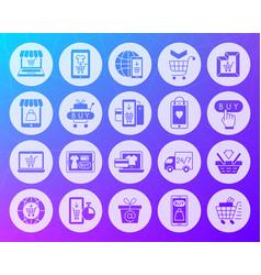 Online shop shape carved flat icons set vector