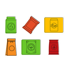 packet icon set color outline style vector image
