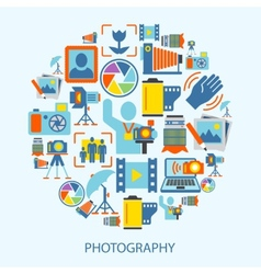 Photography icons flat vector