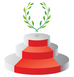Podium with laurel wreath vector