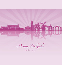 Ponta delgada skyline in purple radiant orchid vector