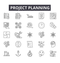 project planning line icons signs set vector image
