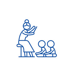 reading in kindergarten line icon concept reading vector image