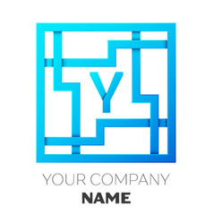 Realistic letter y logo in colorful square maze vector