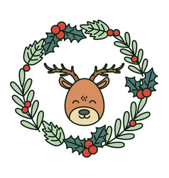 reindeer head wreath decoration celebration merry vector image