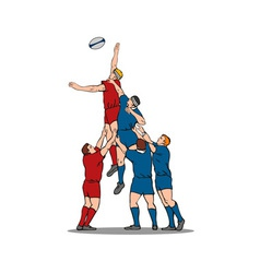 Rugby Player Catching Lineout Ball vector