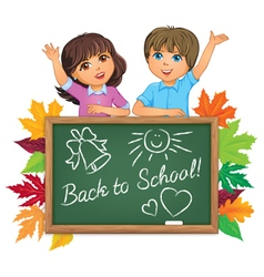 School boards and children vector