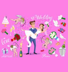 set just married newlyweds bride and groom set vector image