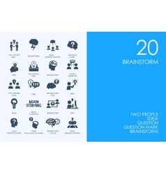 Set of BLUE HAMSTER Library brainstorm icons vector