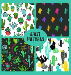 Set of cacti seamless patterns vector