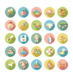 Set of flat design pastel cute baby icons vector image