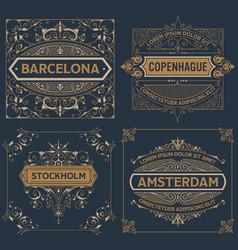 set of four vintage designs vector image