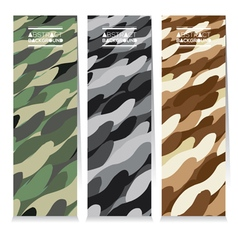 Set Of Three Abstract Camouflage Vertical Banners vector image