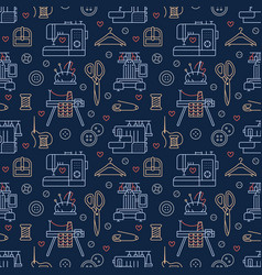 sewing equipment tailor supplies blue colored vector image