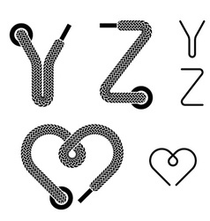 Shoe lace alphabet letters Y Z heart vector