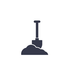 shovel in dirt icon on white vector image