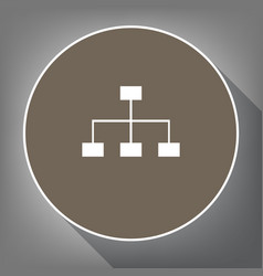 Site map sign white icon on brown circle vector