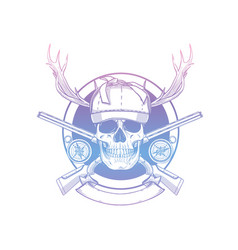 sketch skull with hunter hat vector image