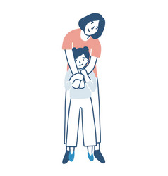 smiling mother and daughter warmly hugging vector image