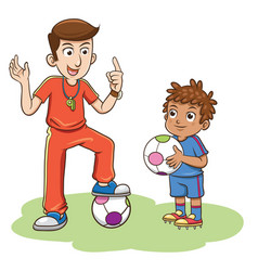 soccer coach and kids players vector image